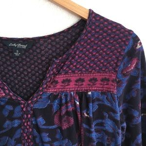 Lucky Brand Tops - Lucky Brand red purple boho top 3/4slv S